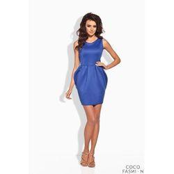Niebieska Koktajlowa Sukienka Bombka