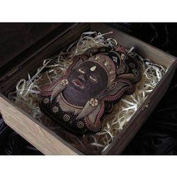 Dekoracyjny Prezent RZEŹBA Egzotyczna Maska MITYCZNEJ BOGINI