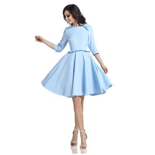 e23513d4ef Błękitna Klasyczna Rozkloszowana Sukienka z Falbankami - porównaj ...