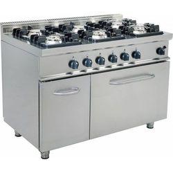 Kuchnia gazowa z piekarnikiem gazowym | 6 palników | 1200x700x850mm