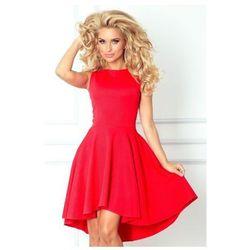 66-12 Ekskluzywna sukienka z dłuższym tyłem - czerwona