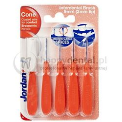JORDAN Interdental Brush CONE (5,0mm) czerwone 5szt. - zestaw szczoteczek międzyzębowych z higieniczną osłonką