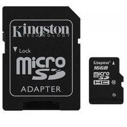 Karta pamięci Kingston microSDHC 16GB class10 + adapter SD
