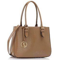 Beżowa lakierowana torebka damska - beżowy 20% Różne torebki (-20%)