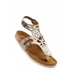 Sandały skórzane bonprix beżowy