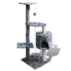 Drapak dla kota 114 cm 1 domek, szary z motywem łapek Zapisz się do naszego Newslettera i odbierz voucher 20 PLN na zakupy w VidaXL!