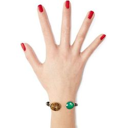 Durality Sertil Gold Plated Bangle with Onyx & Chrysoprase Gr. ONE SIZE