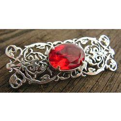 SABOTINI - srebrna broszka z rubinem