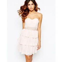 33ea00a4 Elise Ryan Sweetheart Bandeau Frill Dress With Lace Trim - Pink