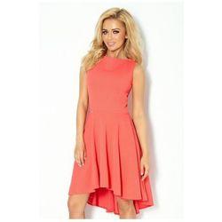 66-6 Gruba Lacosta - Ekskluzywna sukienka z dłuższym tyłem - koral