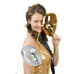 Maska metalik twarz - złota lub srebrna