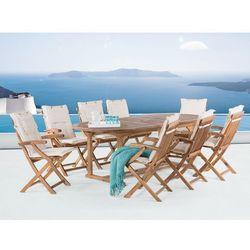 Meble ogrodowe - stół rozkładany + 8 krzeseł + beżowe poduszki - JAVA
