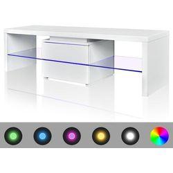 vidaXL Stojak na telewizor, biały, LED, 150 cm Darmowa wysyłka i zwroty