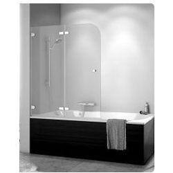 Parawan nawannowy SanSwiss PUB2 dwuczęściowy składany, lewy 120x140 cm, chrom, szkło przezroczyste PUB2G12001007