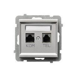 Ospel Sonata Gniazdo komputerowo - telefoniczne, MMC - Srebro Mat - GPKT-R/K/m/38