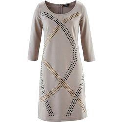 Sukienka shirtowa z ćwiekami bonprix kamienisty