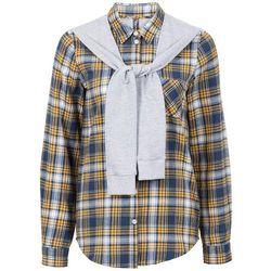 Koszula flanelowa z doszytymi rękawami z dzianiny dresowej bonprix niebiesko-miodowy w kratę