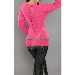 Sweter nietoperz z kokardkami na plecach, fuksja | swetry damskie