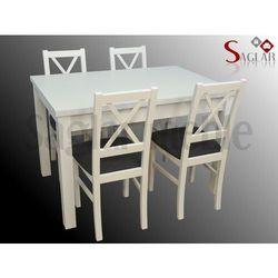 Zestaw JARI IV 4 białe krzesła i stół 80x120