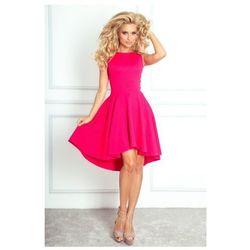 66-3 Gruba Lacosta - Ekskluzywna sukienka z dłuższym tyłem - malina - najtaniej!