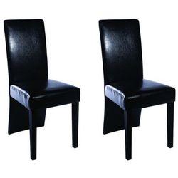 vidaXL Krzesła ze skóry ekologicznej, czarne Darmowa wysyłka i zwroty