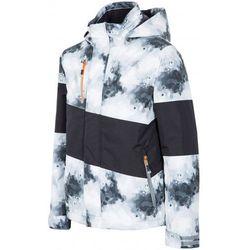 [T4Z15-JKUMN001] Kurtka narciarska chłopięca JKUMN001 - biało-czarny allover