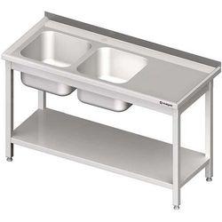 Stół ze zlewem dwukomorowym z półką STALGAST 1500x700x850 lewy