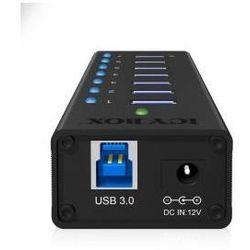 Icy Box 7 x Port USB 3.0 Hub z portem ładowania USB, Czarny