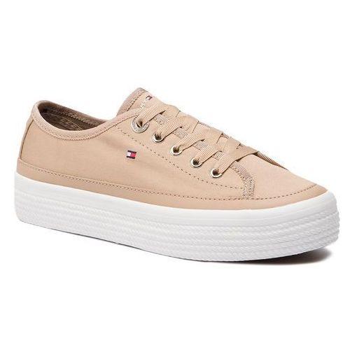 53ff8b7d72a48 Tenisówki TOMMY HILFIGER - Corporate Flatform Sneaker FW0FW02456 Desert  Sand 932