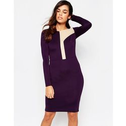 Amy Childs Camilla Midi DRess with Asymetric Mesh Panel Detail - Purple
