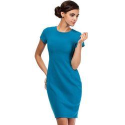 Turkusowa Ołówkowa Sukienka z Seksownym Wycięciem na Plecach