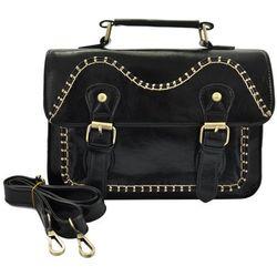5c91b608117eb Czarna torebka listonoszka w stylu Vintage stębnowana - czarny Czarne  listonoszki Acess (-40%