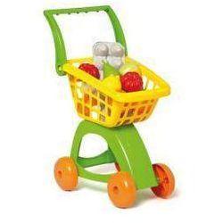 Wózek marketowy na kółkach z zakupami