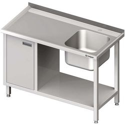 Stół ze zlewem jednokomorowym z szafką i półką STALGAST 1500x600x850 prawy