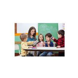 Foto naklejka samoprzylepna 100 x 100 cm - Dzieci i nauczyciel gry z instrumentów muzycznych