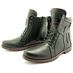KENT 237 CZARNY - Wysokie męskie buty zimowe ze skóry