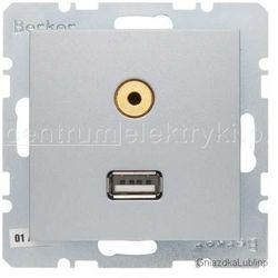 BERKER B.1/B.3/B.7 GLAS GNIAZDO USB/3,5 MM AUDIO ALU