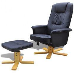 Odchylany fotel TV ze sztucznej skóry czarny z podnóżkiem Zapisz się do naszego Newslettera i odbierz voucher 20 PLN na zakupy w VidaXL!
