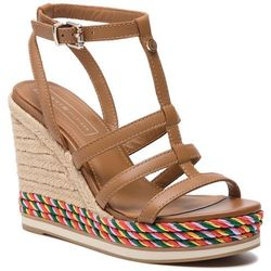 d868760bff828 Espadryle TOMMY HILFIGER - Colorful Rope Wedge Sandal FW0FW03821 Summer  Cognac 929
