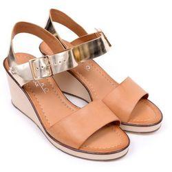 Sandały damskie Ryłko 6HH22X beżowo-złoty-NT8 40 beżowy