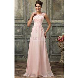Suknia wieczorowa z perłami, jasny róż r.34 - r.54