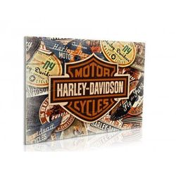 Harley Davidson Logos - obraz na drewnie