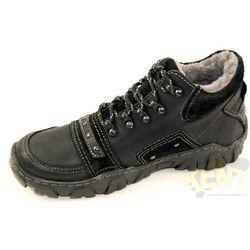 KENT 076 CZARNE - Ciepłe, skórzane buty zimowe z naturalnym futrem