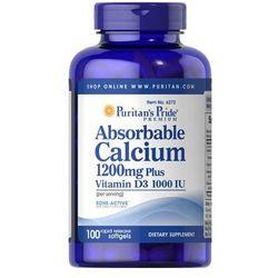 Wapń przyswajalny z witaminą D3 1200mg Absorbable calcium plus D3 100 kapsułek Puritan's Pride