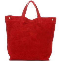 a3d11bb5ad868 Pojemne Torby Skórzane Włoski ShopperBag XL z możliwością zwężenia Czerwony  (kolory)