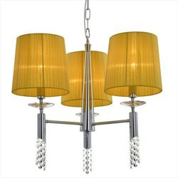 LAMPA wisząca DUAL 33-23179 Candellux kryształowa OPRAWA abażurowa ŻYRANDOL crystal chrom żółty