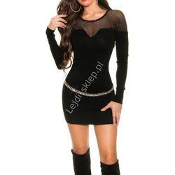 Sukienka dzianinowa z kryształkami na tiulu | czarne sukienki z dzianiny