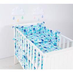 MAMO-TATO rozbieralna pościel 3-el Słonie niebiesko-zielone do łóżeczka 60x120cm