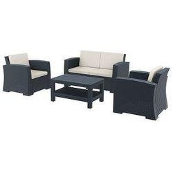 Zestaw mebli ogrodowych z technorattanu Monaco sofa 2 osobowa + 2 fotele + stolik szary