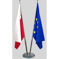 Flagi Polski i UE gabinetowe z satyny 90 x 150 cm